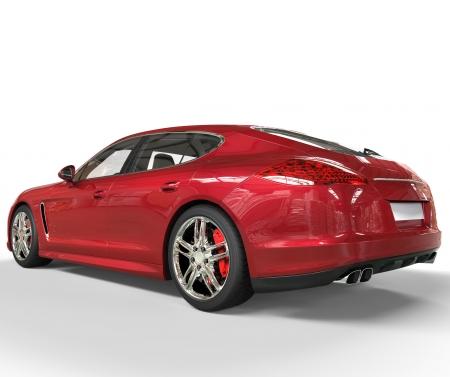 Red Fast Car Rear View Zdjęcie Seryjne