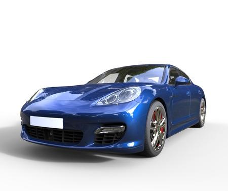 Blau Fast Car Vorderansicht Standard-Bild - 28589270