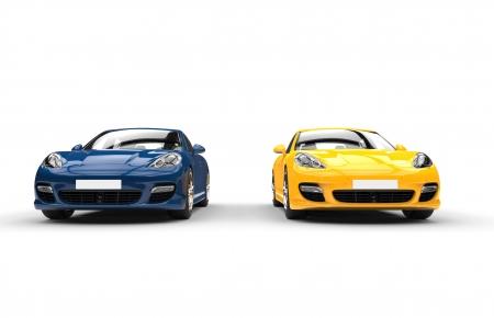 Gelb und Blau Fast Cars Standard-Bild - 28589274