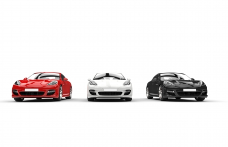White Red And Black Fast Cars Front View