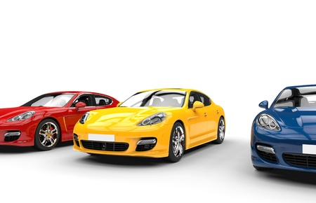 car showroom: Yellow Blue Red Fast Cars Stock Photo