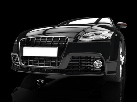 Black Powerful Car Front View Zdjęcie Seryjne