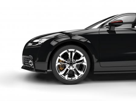 car showroom: Black Powerful Car Side View Stock Photo