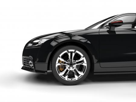 Black Powerful Car Side View Standard-Bild