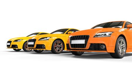 Cool orange cars on white background
