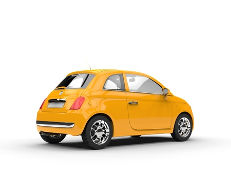 yellow car: Small yellow car back