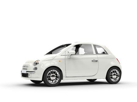 Small economic white car Stock Photo