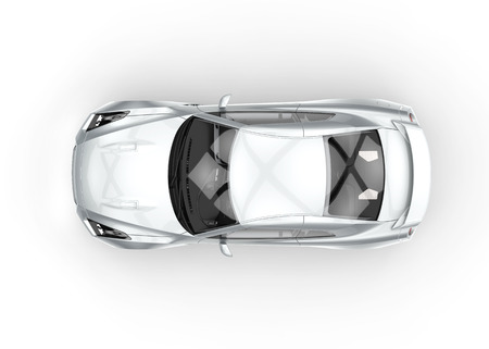 cars: White car top view Stock Photo