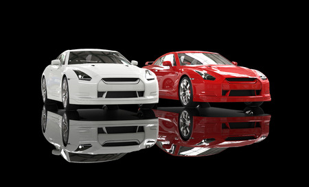 Cool cars on black reflective background Stock Photo