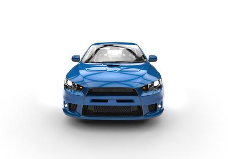 Blue race car side view front