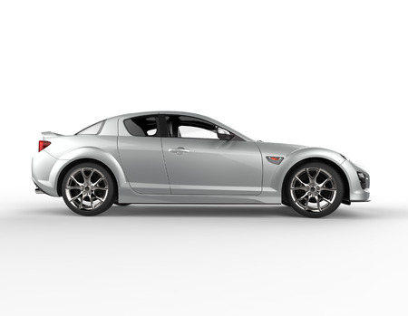 showrooms: Silver race car side view