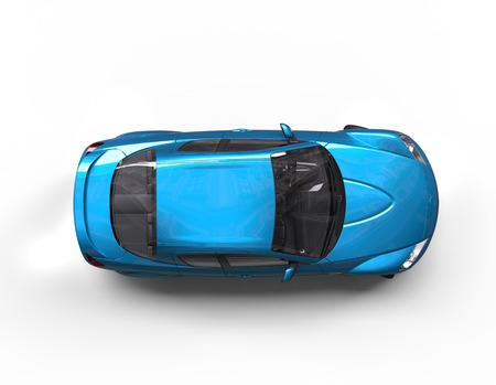 明るい青い車トップ ビュー 写真素材
