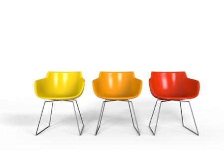 colores calidos: sillas de plástico simples - colores cálidos