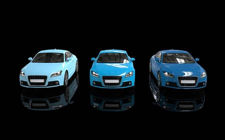 car isolated: Cool blue cars on black back background front top view Stock Photo