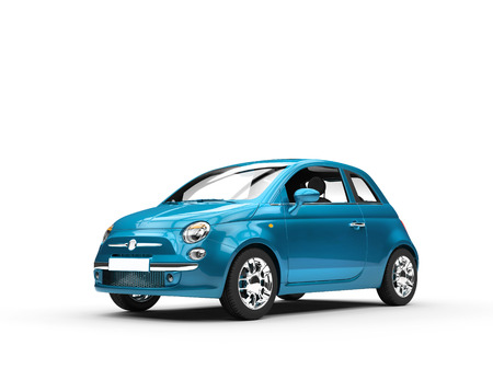 motors: Small blue metallic car Stock Photo