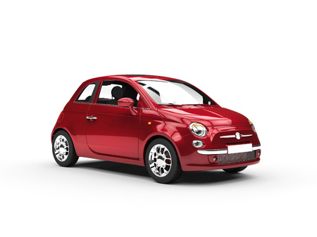 car door: Small cherry colored economic car