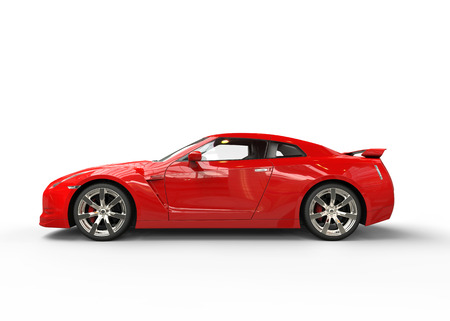 luxury cars: Fast red car side view Stock Photo