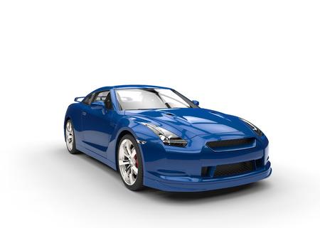クールな青い車のクローズ アップ ビュー