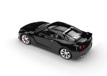 cars race: Cool black car top view