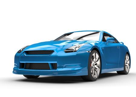 Metallic blue car front close-up
