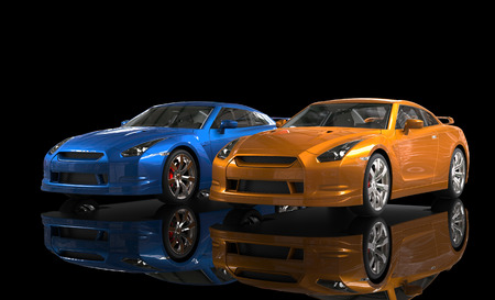 background orange: Blue and orange metallic cars on black background