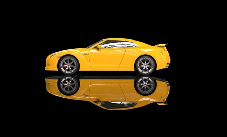 yellow car: Cool yellow car on reflective background