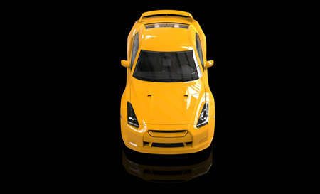 yellow car: Cool yellow car top view on reflective floor Stock Photo