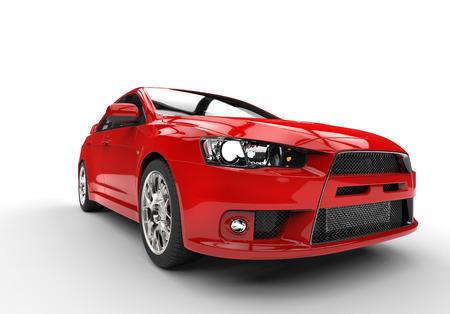 赤のレース車側表示前面をクローズ アップ 写真素材