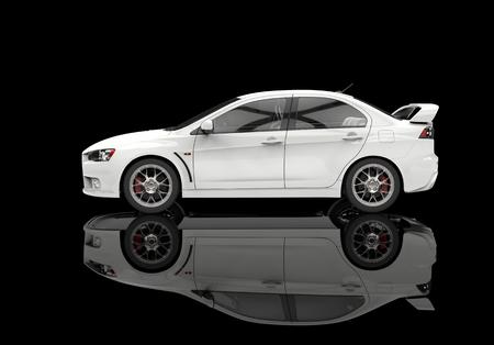 white car: White race car on black reflective floor