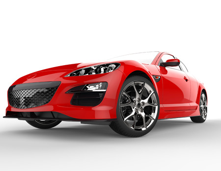 luxury cars: Sports car red front side Stock Photo