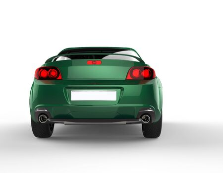Metallic green car back view - taillights