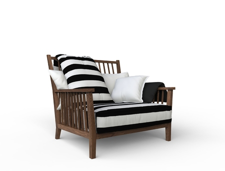 isolated chair: Nice Black and Wihte Armchair 2