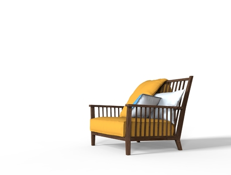 white pillow: Yellow armchair