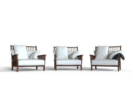 armchairs: Three white cozy armchairs