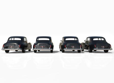 classic cars: Four classic cars black back