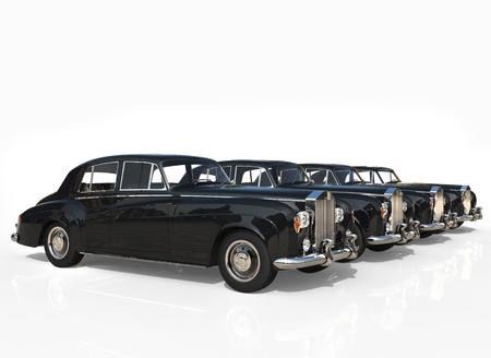 classic cars: Four classic cars black side