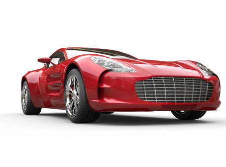 Red metallic car on white background, image shot in ultra high resolution.
