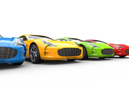Row of multicolored cars on white background, image shot in ultra high resolution.