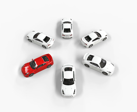 Red car among many white cars, image shot in ultra high resolution.
