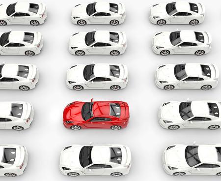 Rotes Auto unter vielen weißen Autos, aufgenommene Bild in extrem hoher Auflösung. Standard-Bild - 32078489