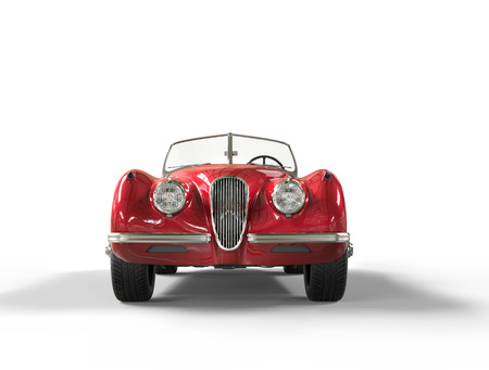 Red vintage car on white background, image shot in ultra high resolution. Archivio Fotografico