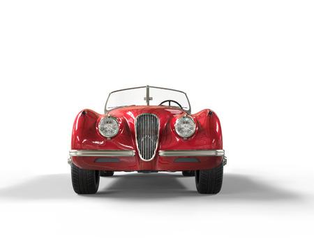 Rode vintage auto op een witte achtergrond, afbeelding geschoten in ultra hoge resolutie. Stockfoto