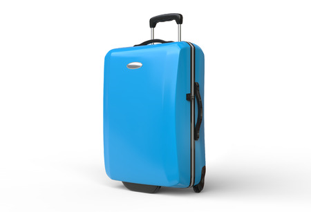 Blue polycarbonate travel baggage suitcase on white background, image shot in ultra high resolution.