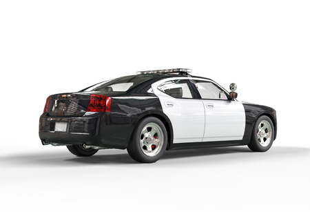 a patrol: Police car without decals on white background, image shot in ultra high resolution.