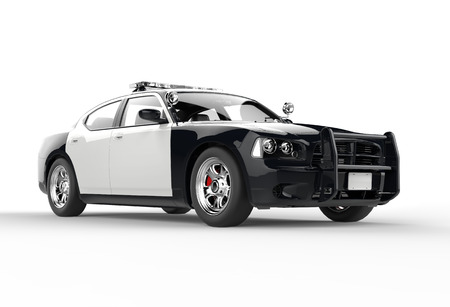Police car without decals on white background, image shot in ultra high resolution.