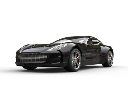 白の背景に黒の高級スポーツ車。超高解像度で撮影した画像。