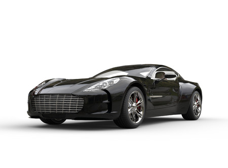 Zwarte luxe sportwagen op een witte achtergrond. Afbeelding neergeschoten in ultra hoge resolutie.