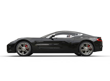Black luxury sports car on white background. Image shot in ultra high resolution. photo