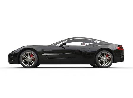 dream car: Negro coche deportivo de lujo en el fondo blanco. Imagen de un disparo en ultra-alta resolución.