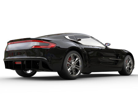 luxury lifestyle: Black luxury sports car on white background. Image shot in ultra high resolution. Stock Photo